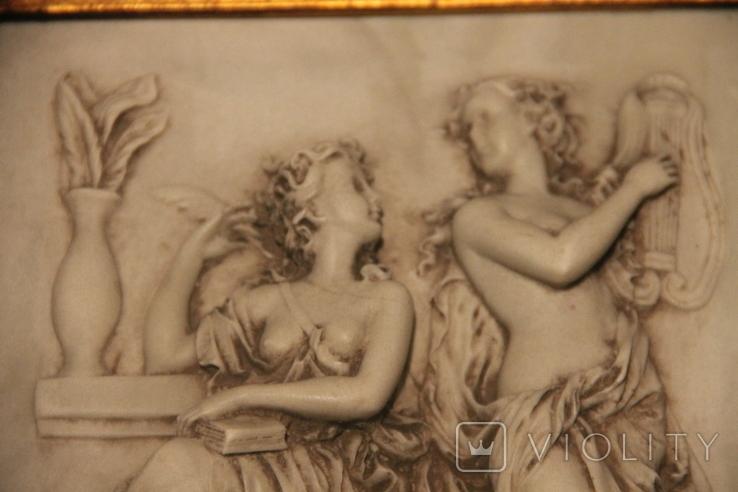 Картина  ,, Античний сюжет ,, Англія. Мраморная крошка. розмір в рамі 42Х37см., фото №5