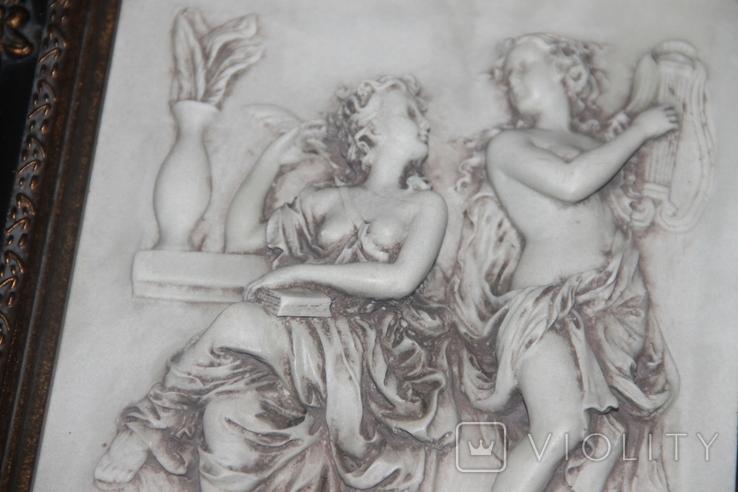 Картина  ,, Античний сюжет ,, Англія. Мраморная крошка. розмір в рамі 42Х37см., фото №9