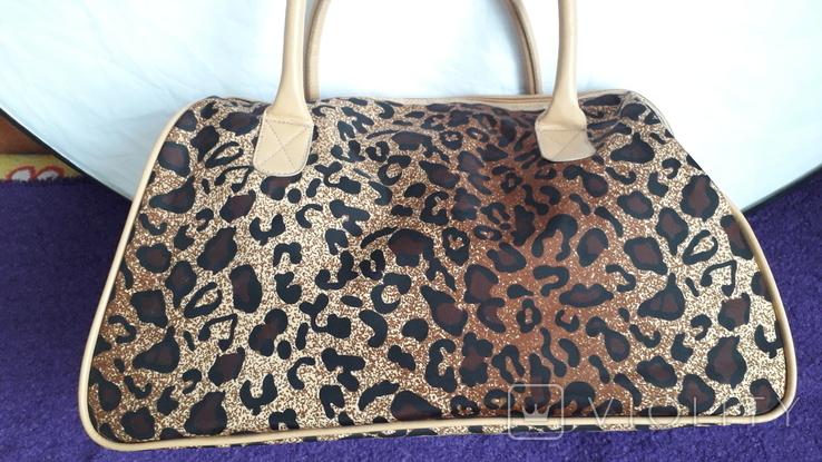 Дорожня сумка Casa di Borse леопардового принту, фото №4