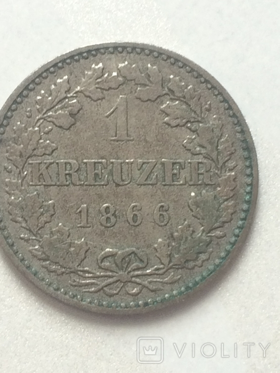 1- крейцер 1866 г Франфурт, фото №2