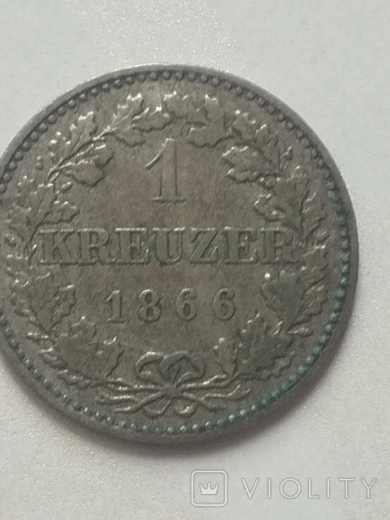 1- крейцер 1866 г Франфурт, фото №3