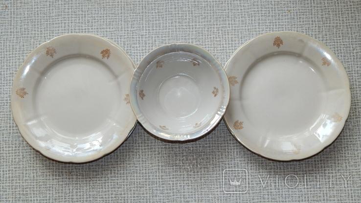 Четыре тарелки и пиала дружковский ф/з, фото №2