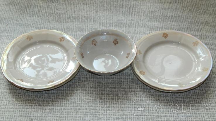 Четыре тарелки и пиала дружковский ф/з, фото №3