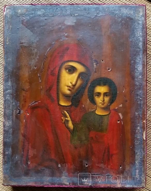 Ікона Казанської Богородиці, 21,9х17,1х2,5 см, фото №4