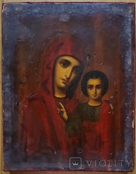 Ікона Казанської Богородиці, 21,9х17,1х2,5 см, фото №5