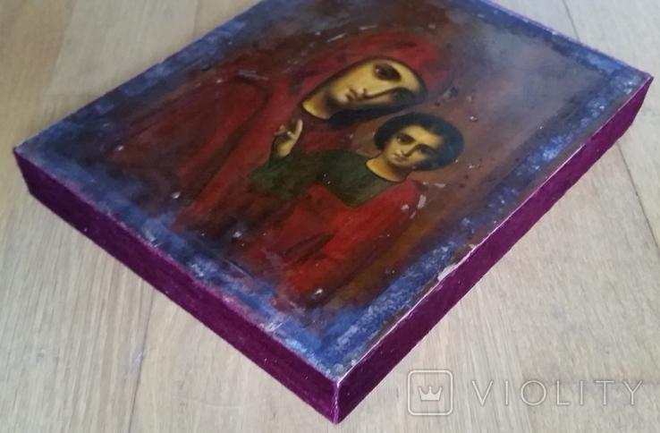 Ікона Казанської Богородиці, 21,9х17,1х2,5 см, фото №11