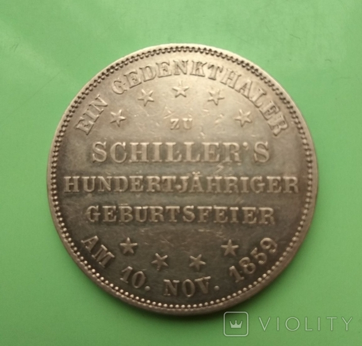 Талер 1859г. 100-лет Фридриха Шиллера, Франкфурт., фото №4
