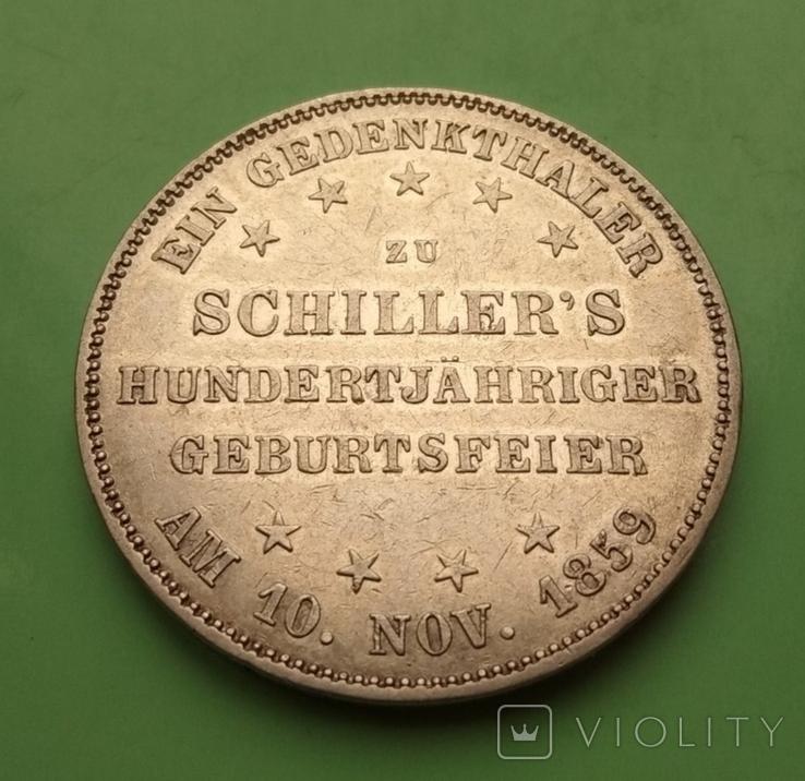 Талер 1859г. 100-лет Фридриха Шиллера, Франкфурт., фото №5
