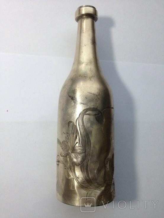 Серебро 84. Пляшка з стопкою на блюдечку., фото №4
