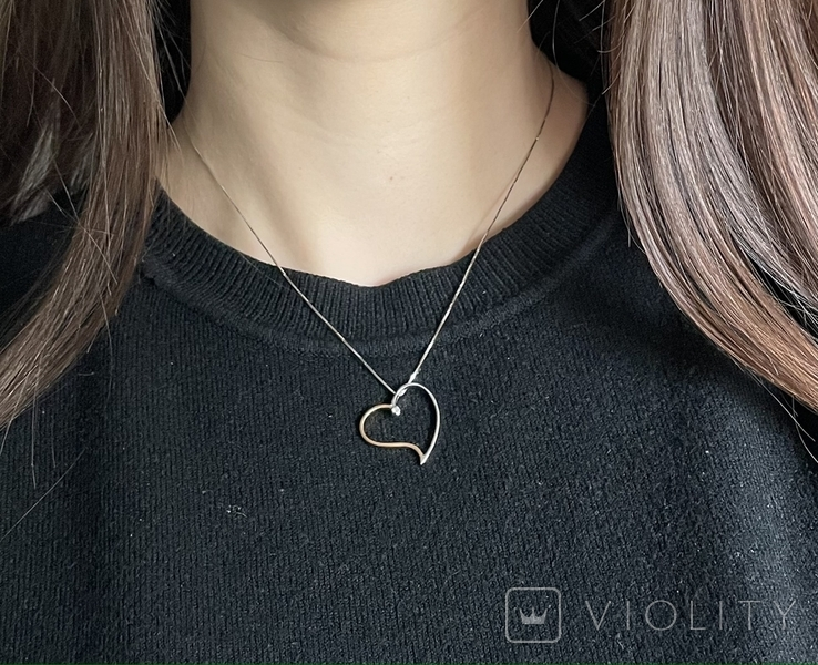 Золотая цепока с кулоном,с бриллиантом, фото №3