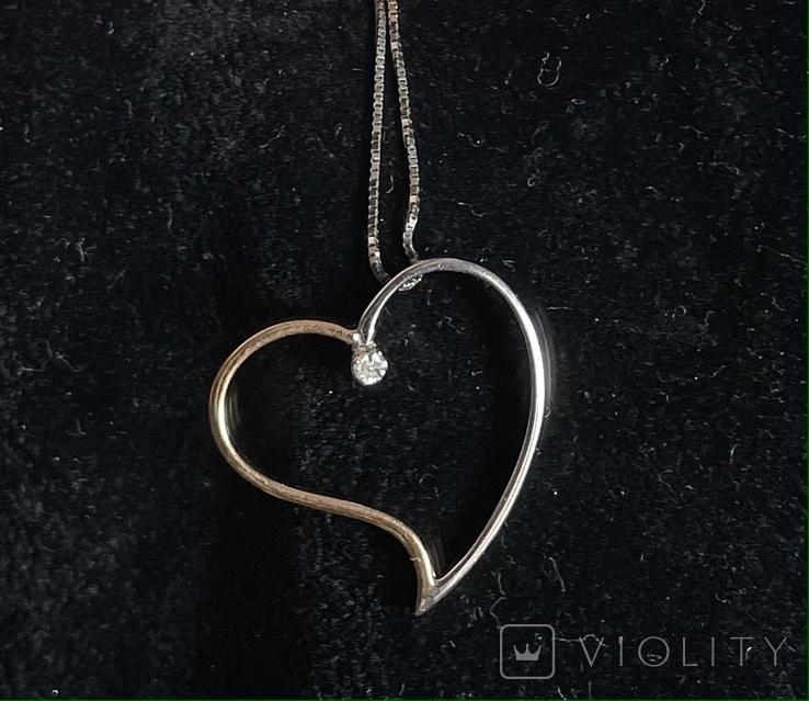 Золотая цепока с кулоном,с бриллиантом, фото №4