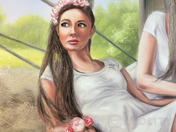 Картина, Сільські дівчата, 100х60 см. Живопис на полотні, фото №4