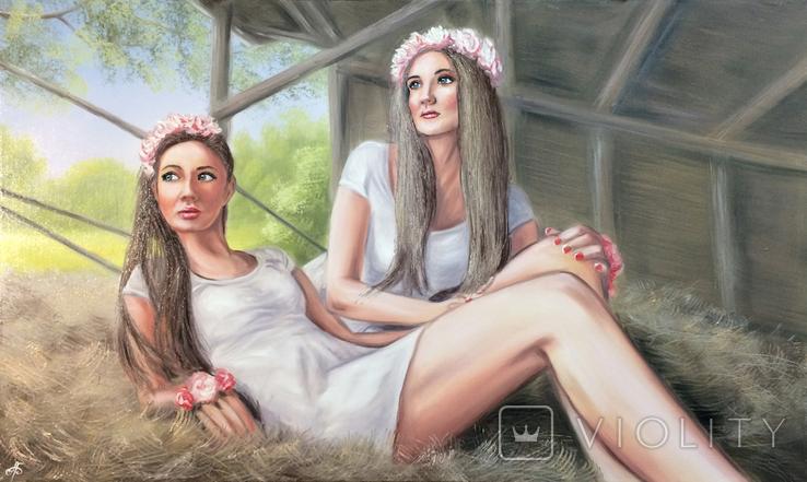 Картина, Сільські дівчата, 100х60 см. Живопис на полотні, фото №6