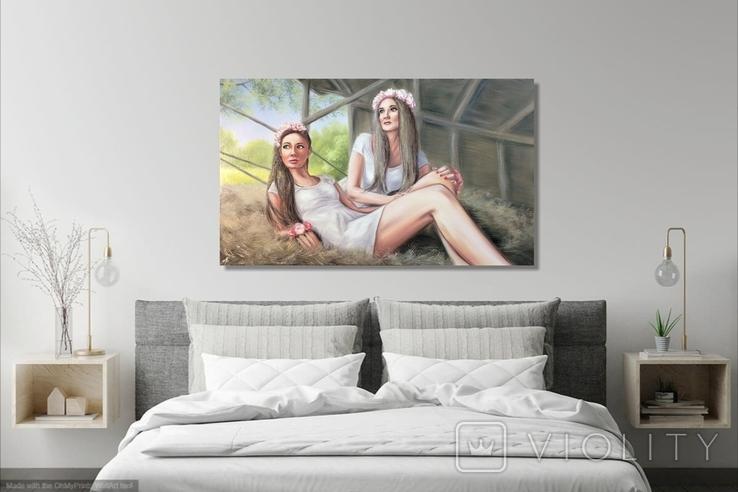 Картина, Сільські дівчата, 100х60 см. Живопис на полотні, фото №8
