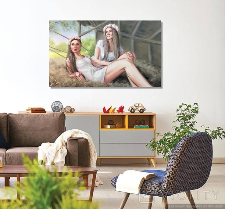 Картина, Сільські дівчата, 100х60 см. Живопис на полотні, фото №10