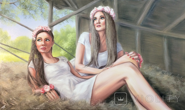 Картина, Сільські дівчата, 100х60 см. Живопис на полотні, фото №12