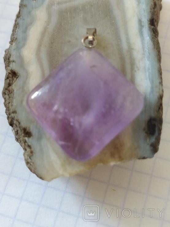 Кулон с натуральным лавандовым аметистом., фото №6