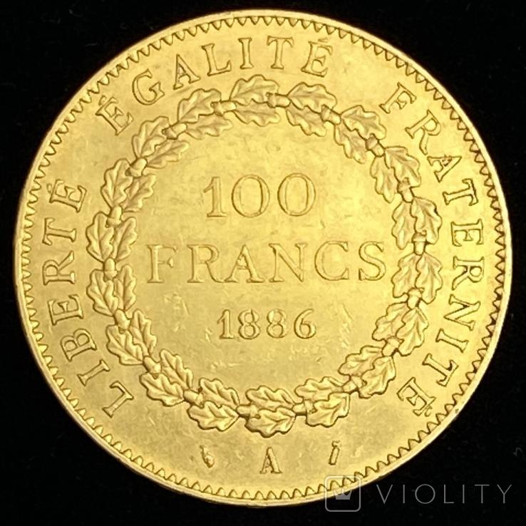 """100 франков. 1886. """"Золотой ангел"""" Франция (золото 900, вес 32,25 г), фото №4"""