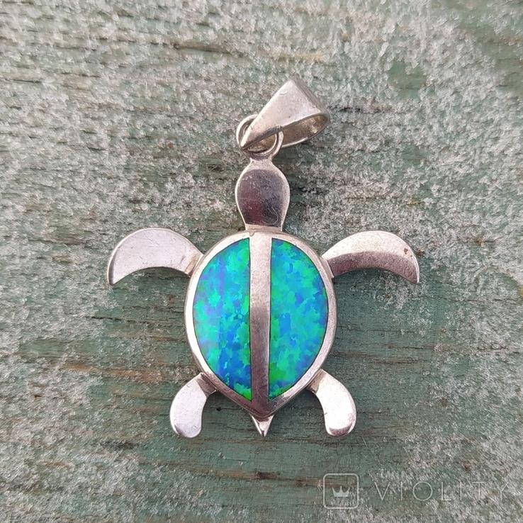 Черепашка с эмалью, серебро 925, Гавайи., фото №2