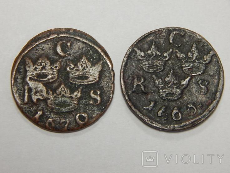 2 монеты по 1/6 оре, Швеция, 1666/70 г.г., фото №2