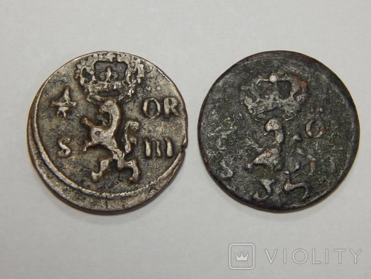 2 монеты по 1/6 оре, Швеция, 1666/70 г.г., фото №3