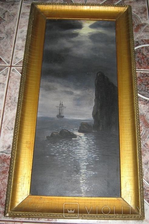 Парусник в ночном море 1953 Масло Картон 47.5Х23.5(41Х17.5) см, фото №2