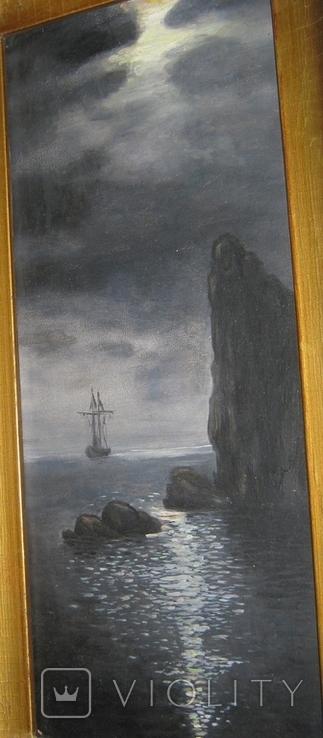 Парусник в ночном море 1953 Масло Картон 47.5Х23.5(41Х17.5) см, фото №5