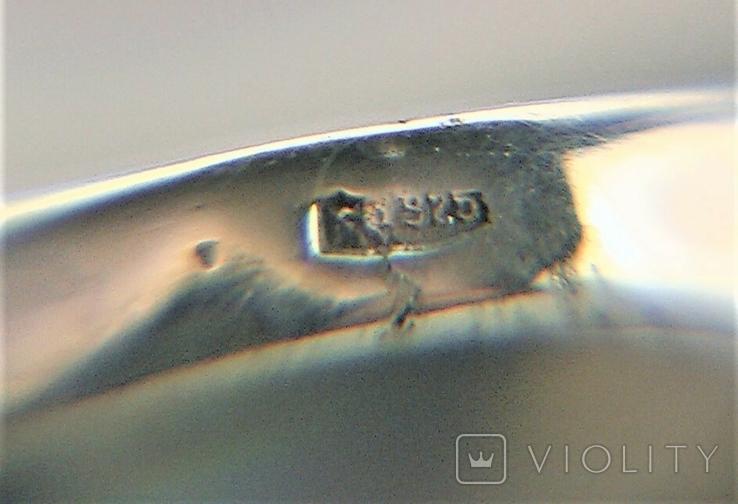 Кольцо перстень серебро 925 проба 5.12 грамма размер 17.5, фото №9