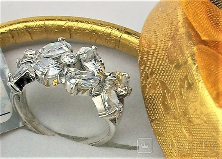 Кольцо перстень серебро 925 проба 4.93 грамма размер 18, фото №2