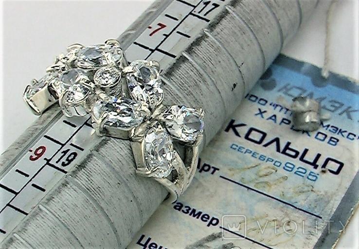 Кольцо перстень серебро 925 проба 4.93 грамма размер 18, фото №7