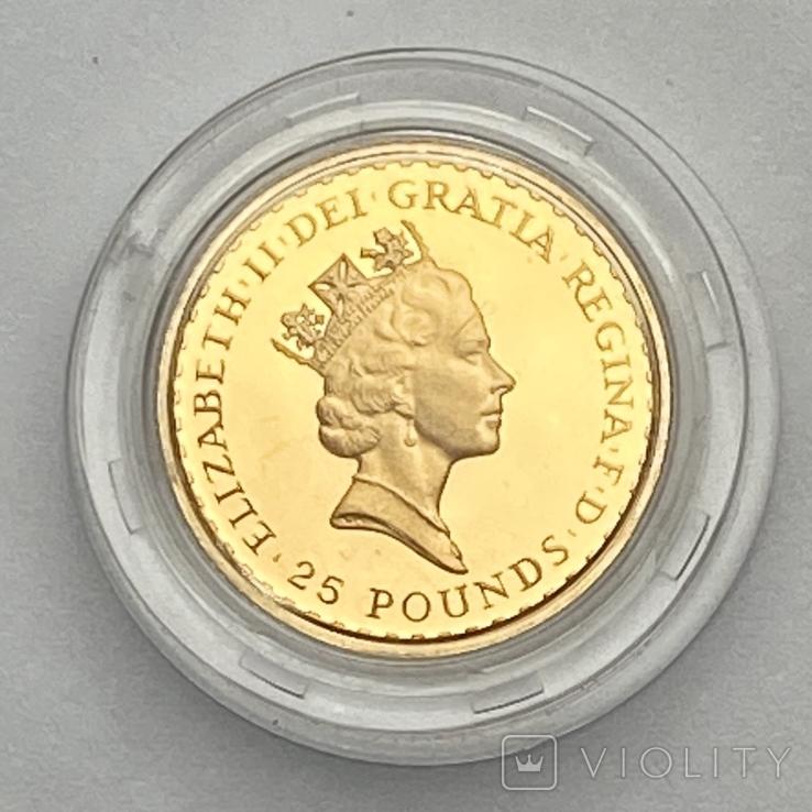 25 фунтов. 1988. Елизавета II. Великобритания. Пруф (золото 999,9, 1/4 унции), фото №2