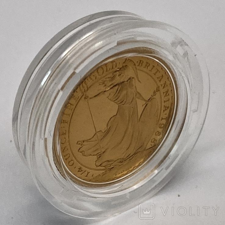 25 фунтов. 1988. Елизавета II. Великобритания. Пруф (золото 999,9, 1/4 унции), фото №4