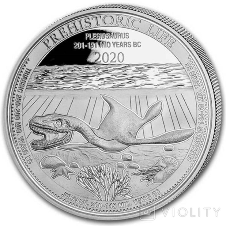 Плезиозавр 20 франков 2020 Серебро 1oz 999,9, фото №4
