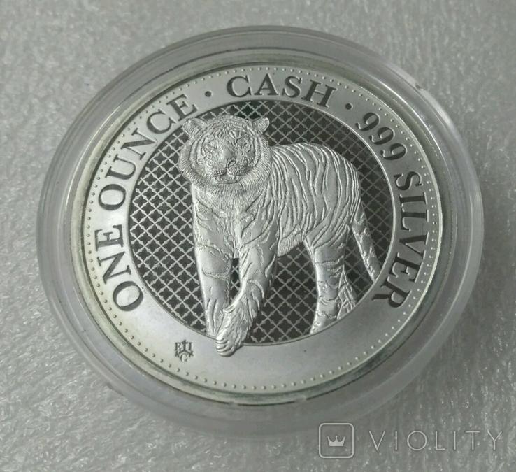Бенгальский тигр 1 фунт 2019 Серебро 1oz 999, фото №2