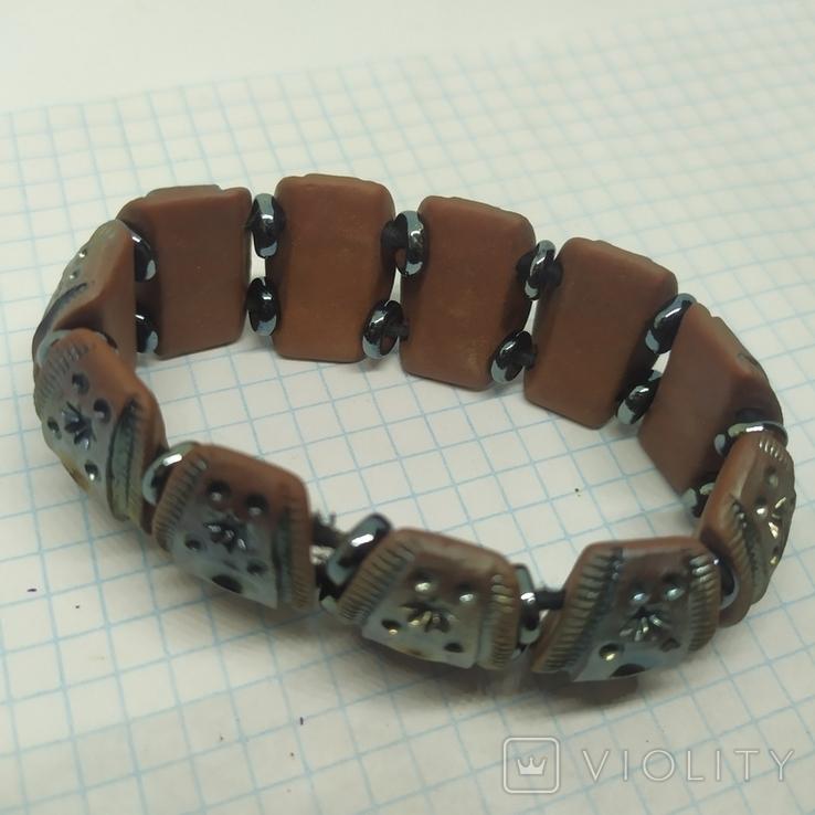 Браслет из керамических бусин с тонированием (3), фото №6