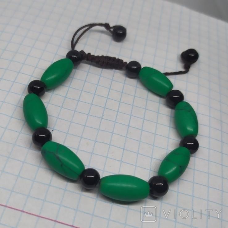 Браслет с бусинами бирюзового цвета. Камень (3), фото №2