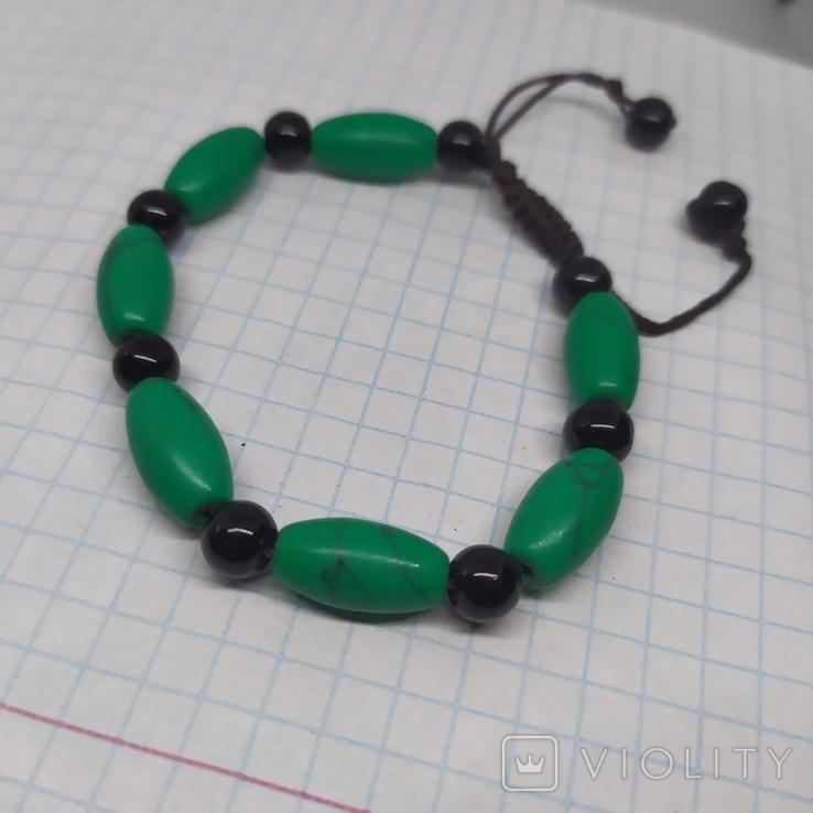 Браслет с бусинами бирюзового цвета. Камень (3), фото №4
