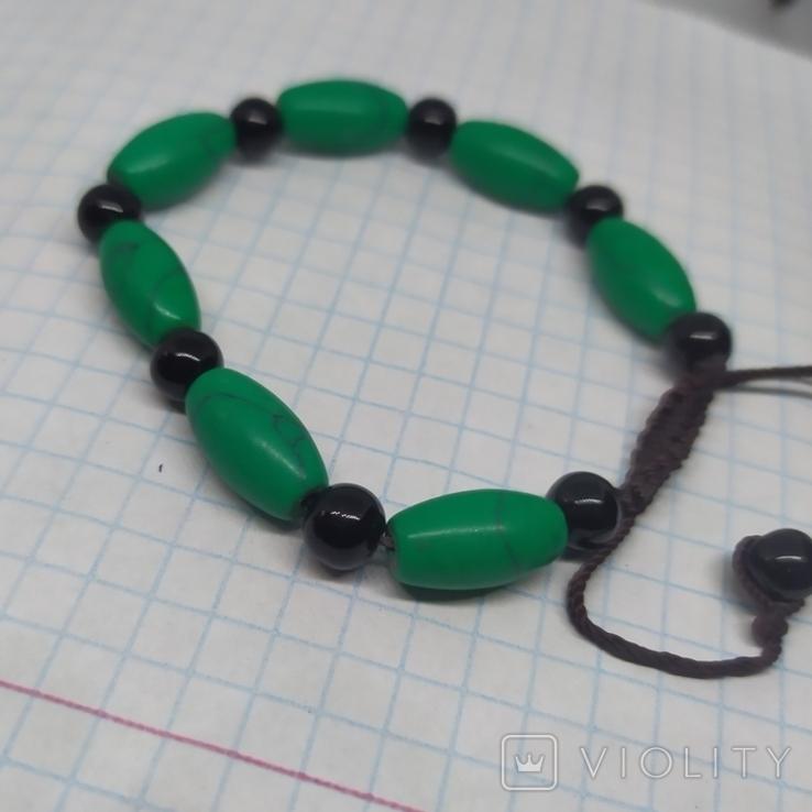 Браслет с бусинами бирюзового цвета. Камень (3), фото №5