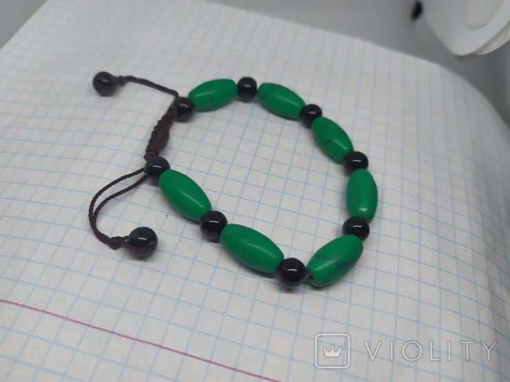 Браслет с бусинами бирюзового цвета. Камень (3), фото №8