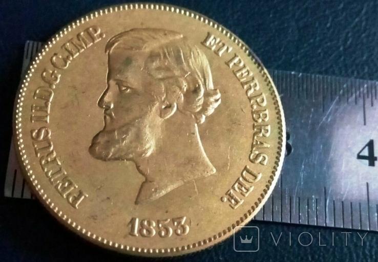 Монета Бразилії 1853 року точна копія Золотої /позолота 999/ не магнітна, фото №2