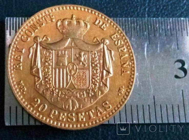 20 песет /золотий/1889 року Іспанія копія не магнітна / позолота 999/, фото №2