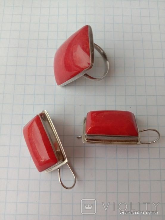Гарнитур. Набор серьги и кольцо. Серебро 925 проба., фото №3