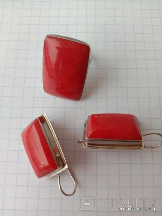 Гарнитур. Набор серьги и кольцо. Серебро 925 проба., фото №4