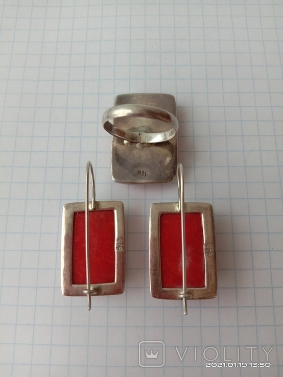 Гарнитур. Набор серьги и кольцо. Серебро 925 проба., фото №5