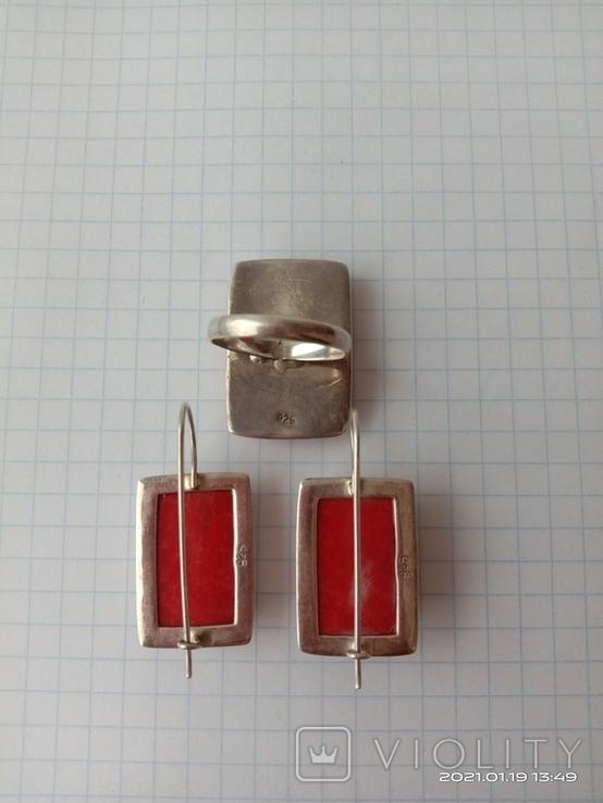 Гарнитур. Набор серьги и кольцо. Серебро 925 проба., фото №6