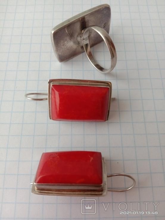 Гарнитур. Набор серьги и кольцо. Серебро 925 проба., фото №8