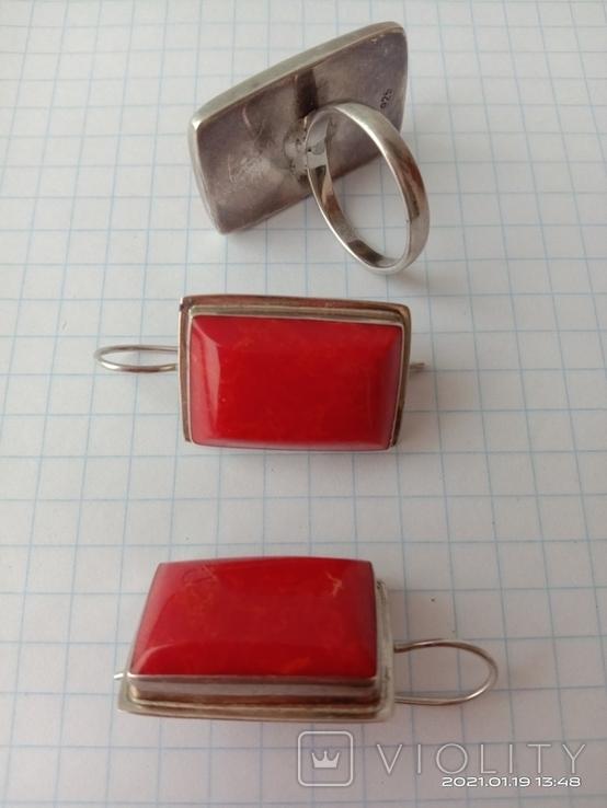 Гарнитур. Набор серьги и кольцо. Серебро 925 проба., фото №9