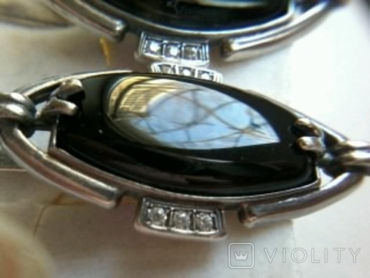 Кольцо и серьги серебро 925, тризуб, р. 16.5, натур.камни, фото №6