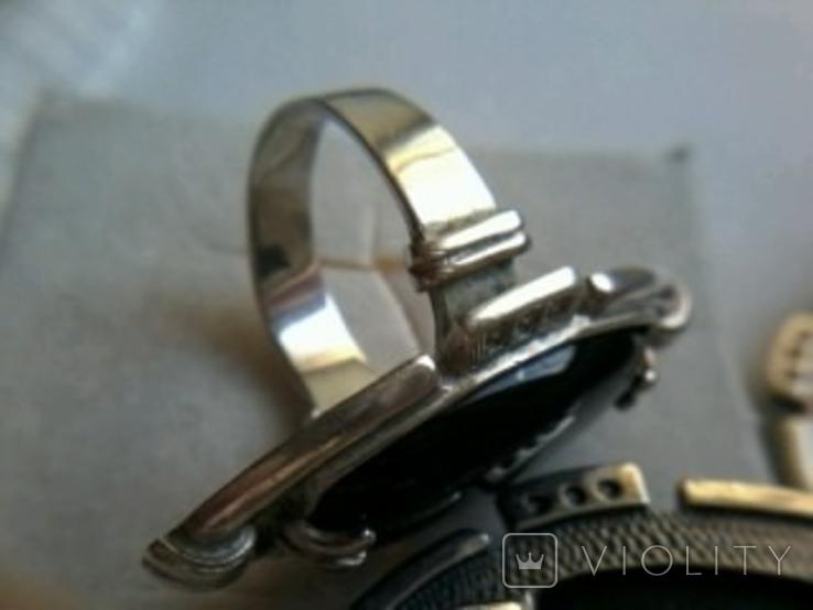 Кольцо и серьги серебро 925, тризуб, р. 16.5, натур.камни, фото №7