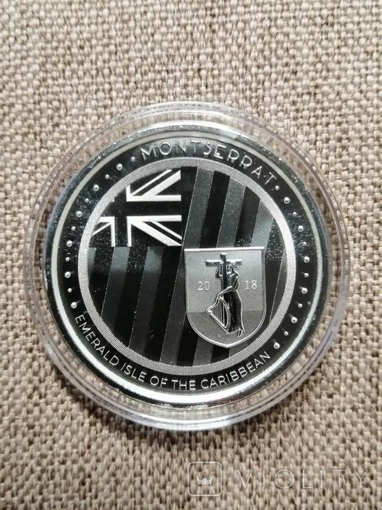 Монтсеррат - 2 доллара EC8 Изумрудный остров - 1 унция серебра, фото №2
